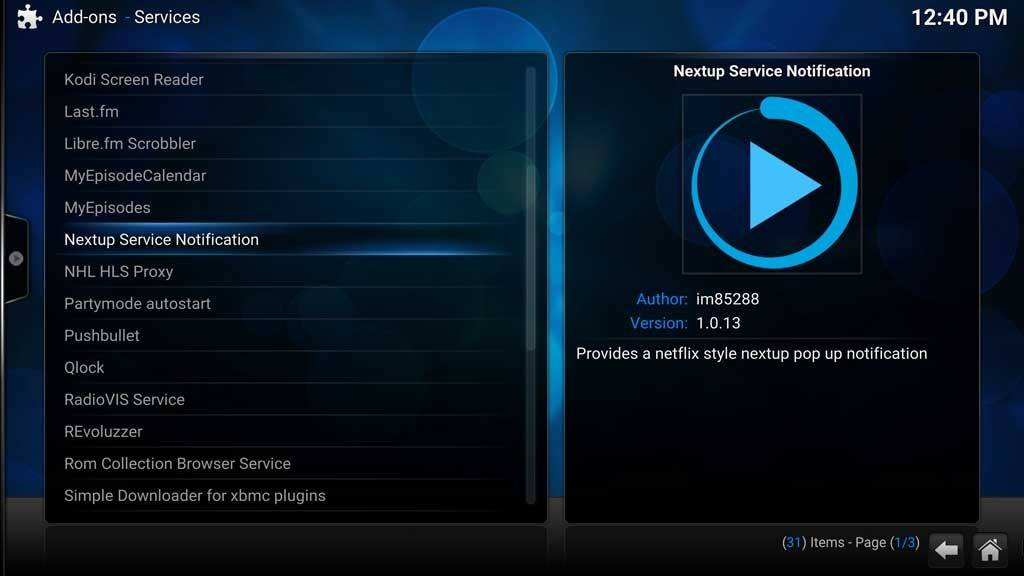Kodi Add-ons Services NextUp