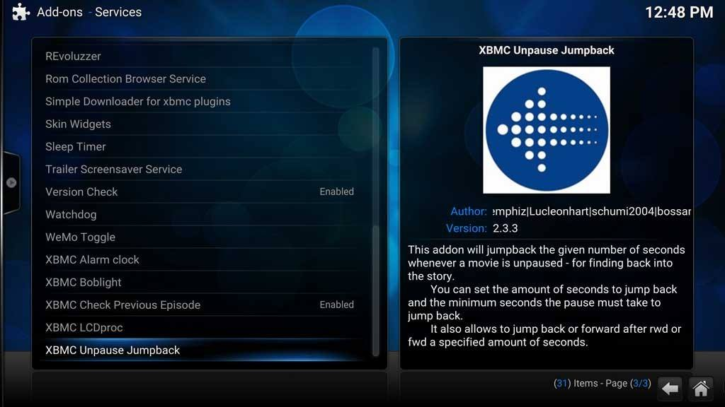 Addons Services - XBMC Unpause Jumpback