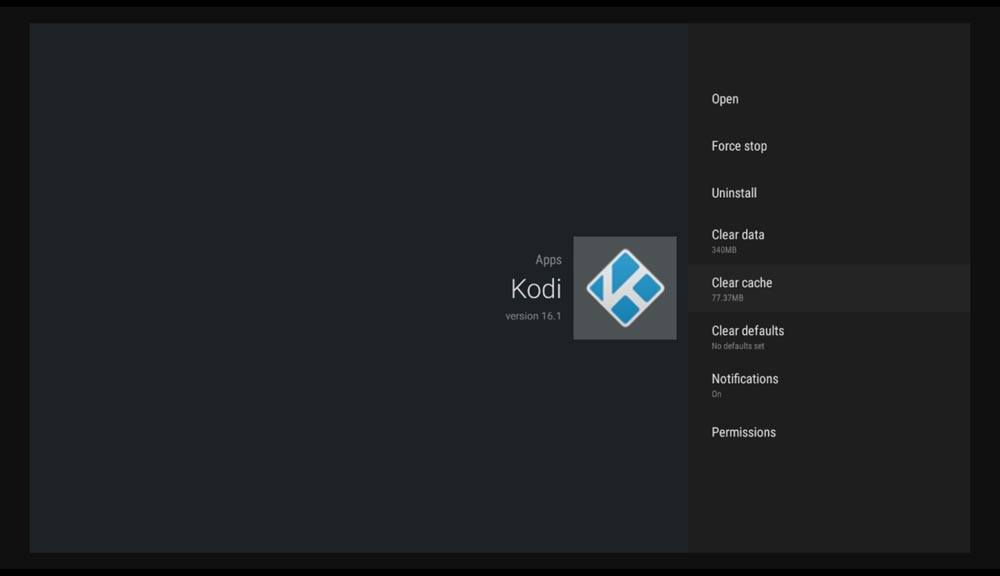How do I reset Kodi on Android box - Clear Cache